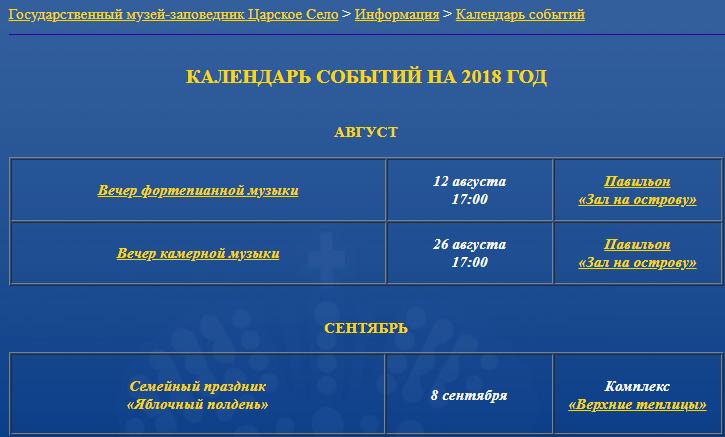 События в музее Царское село